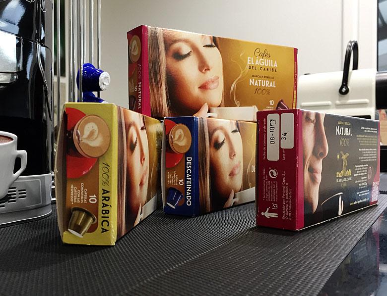 Café en cápsulas cajas